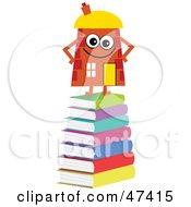 Orange Cartoon House Character Standing On Books