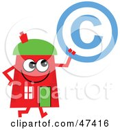 Red Cartoon House Character Holding A Copyright Symbol