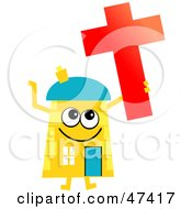 Yellow Cartoon House Character With A Christian Cross