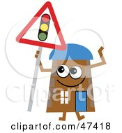 Brown Cartoon House Character With A Traffic Light Sign