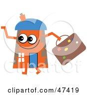 Orange Cartoon House Character With Luggage