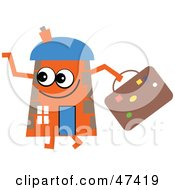 Royalty Free RF Clipart Illustration Of An Orange Cartoon House Character With Luggage