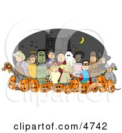 Nighttime Halloween Trick Or Treaters Wearing Costumes Clipart