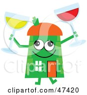 Green Cartoon House Character With Wine