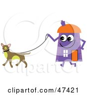 Purple Cartoon House Character Walking A Dog