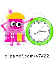 Pink Cartoon House Character With A Clock