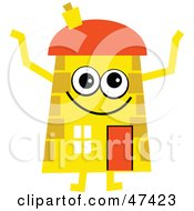 Happy Yellow Cartoon House Character