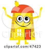 Happy Yellow Cartoon House Character