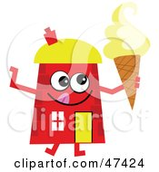 Red Cartoon House Character With Ice Cream