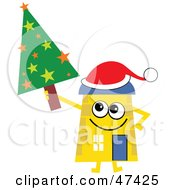 Yellow Cartoon House Character With A Christmas Tree