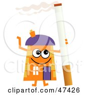 Orange Cartoon House Character With A Cigarette