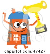 Orange Cartoon House Character Holding A Trophy