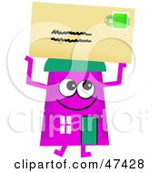 Purple Cartoon House Character With A Letter
