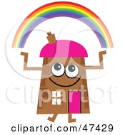 Brown Cartoon House Character With A Rainbow