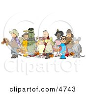 Halloween Trick Or Treaters Standing Together As A Group In Their Costumes Clipart