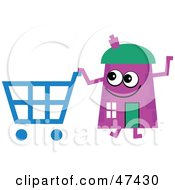 Purple Cartoon House Character Shopping