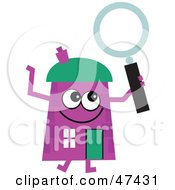 Royalty Free RF Clipart Illustration Of A Purple Cartoon House Character With A Magnifying Glass