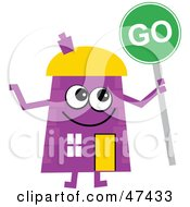 Purple Cartoon House Character With A Go Sign