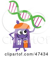 Purple Cartoon House Character With Dna