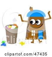 Brown Cartoon House Character By A Trash Can