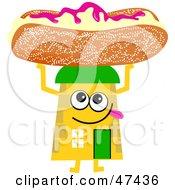 Yellow Cartoon House Character Holding A Bun