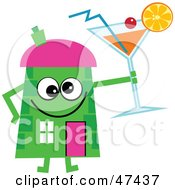 Green Cartoon House Character With A Cocktail