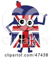 Patriotic Union Jack Flag Cartoon House Character