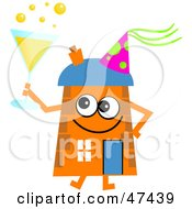 Orange Cartoon House Character Drinking Bubbly At A Party