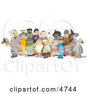 Group Of Adults And Children Wearing Halloween Costumes Clipart