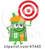 Green Cartoon House Character Holding A Target
