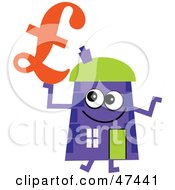 Purple Cartoon House Character With A Pound Sterling Symbol