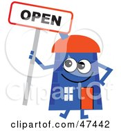 Blue Cartoon House Character With An Open Sign