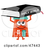 Orange Cartoon House Character With A Holy Bible