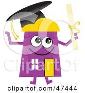 Purple Cartoon House Character Graduate