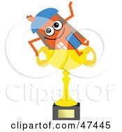Orange Cartoon House Character Sitting On A Trophy