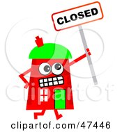 Red Cartoon House Character Holding A Closed Sign