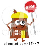 Brown Cartoon House Character With A Stop Sign