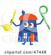 Blue Cartoon House Character With Musical Toys
