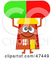 Orange Cartoon House Character Holding Up A Pill