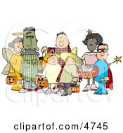 Group Of Male And Female Halloween Trick Or Treaters Clipart