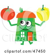 Green Cartoon House Character With A Tomato And Bell Pepper