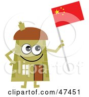 Green Cartoon House Character Holding A Chinese Flag