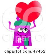 Purple Cartoon House Character Holding A Heart