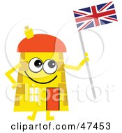 Yellow Cartoon House Character Holding A Union Jack Flag