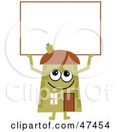 Green Cartoon House Character With A Blank Sign