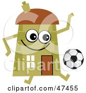 Green Cartoon House Character Playing Soccer