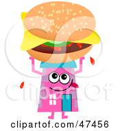 Pink Cartoon House Character Holding A Cheeseburger