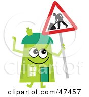 Green Cartoon House Character With A Road Work Sign