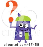 Purple Cartoon House Character With A Question Mark