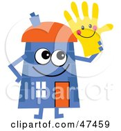 Blue Cartoon House Character Holding A Smiley Glove